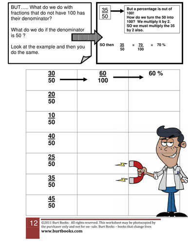 Changing a fraction into a percentage worksheet 2