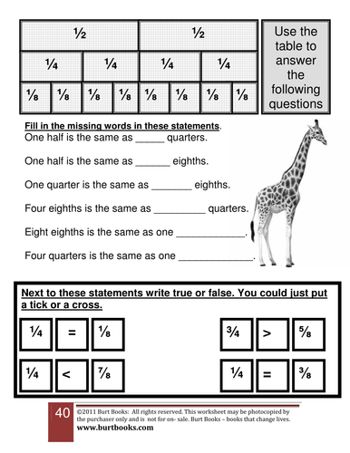 Equivalent fractions Halves quarters and eighths.