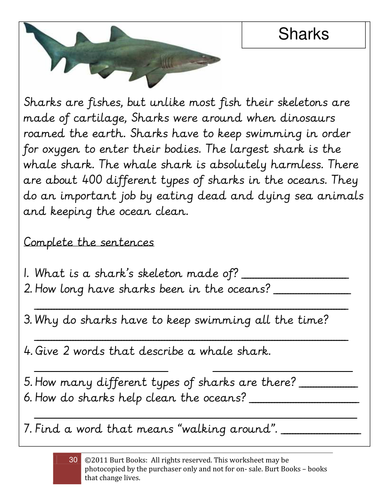 CLOZE PROCEDURE ON SHARKS by coreenburt - Teaching Resources - TES