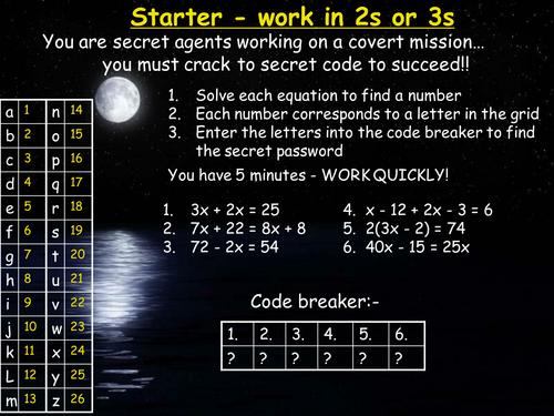 GCSE Maths:Solving equations code breaker activity