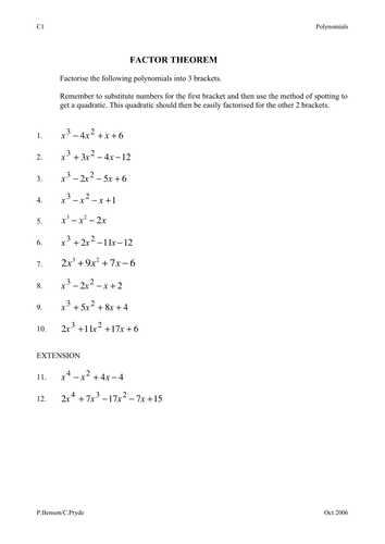 Worksheets Remainder Theorem Worksheet factor theorem by phildb teaching resources tes preview resource