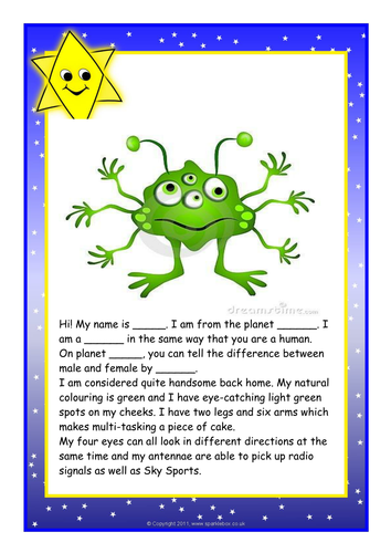 Character Design Course Description : Describing an alien by lawood teaching resources tes