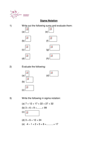 A Level Maths Worksheet Sigma Notation By Phildb Teaching