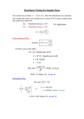 Statistics: Hypothesis Testing worksheet by phildb - Teaching ...