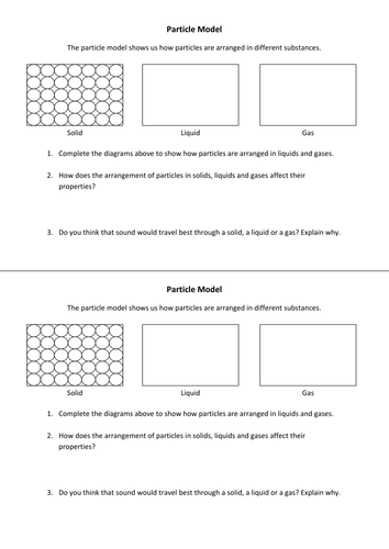 Particle Model Worksheet by purpledna - Teaching Resources - Tes