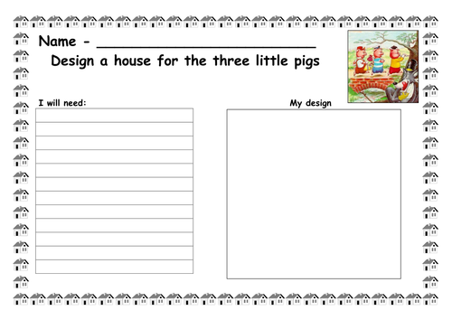 Design a house for the 3 Little pigs by ruthbentham Teaching – Three Little Pigs Worksheets Kindergarten