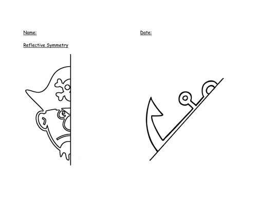 Reflective Symmetry Pirate Worksheet