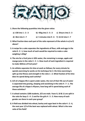 Worksheets Ratio Worksheet ratio worksheet by tj2807 teaching resources tes