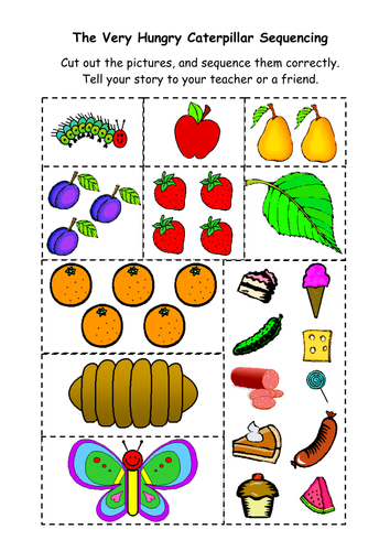 The Very Hungry Caterpillar Sequencing Sheet Teaching Resources