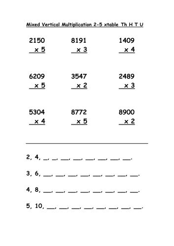 Mixed Multiplication 2-5 ThHTU by lynreb - Teaching Resources - TES