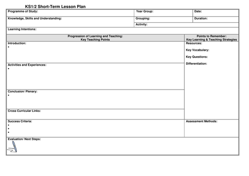 KS1 2 Lesson Plan Template By Noaddedsugar
