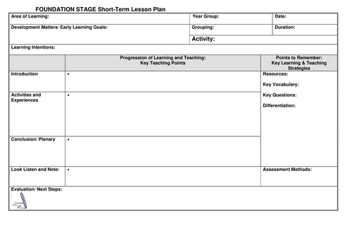 EYFS Lesson plan template by noaddedsugar Teaching Resources TES – Sample Blank Lesson Plan Template