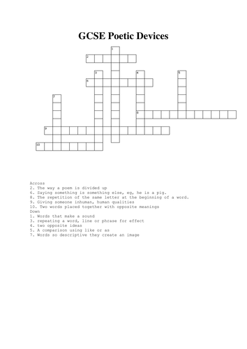 Poetic devices crossword