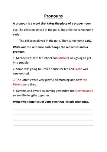 Pronouns by lynreb - Teaching Resources - Tes
