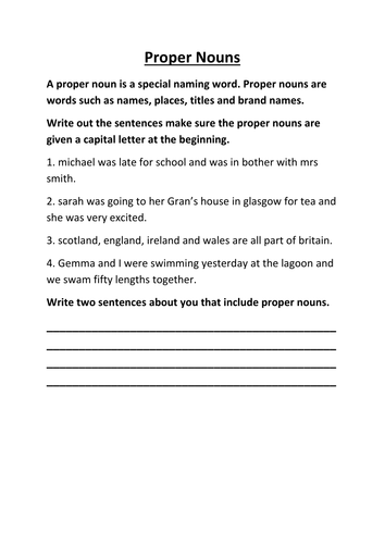 proper nouns by lynreb teaching resources tes - Proper Nouns Worksheet
