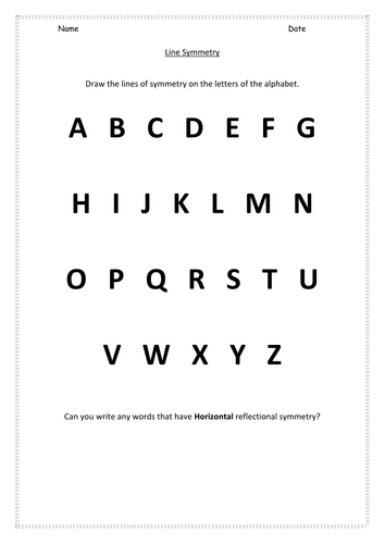 KS1 - Alphabet symmetry worksheet by hroberts999   Teaching Resources