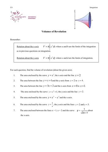Worksheet on finding Volumes by phildb - Teaching Resources - Tes