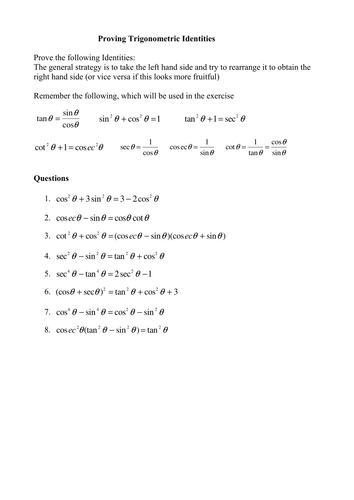 Worksheet Trig Identities Worksheet a levels maths proving trigonometric identities by phildb teaching resources tes