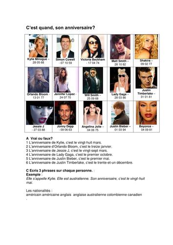 Celebrity Birthdays FRENCH