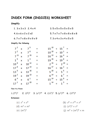 GCSE Maths: Worksheet Laws of Indices (Foundation) by paulm2704 ...