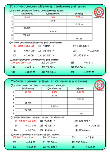 Mm cm and m length conversion worksheet by primaryclass for Table 85 hours
