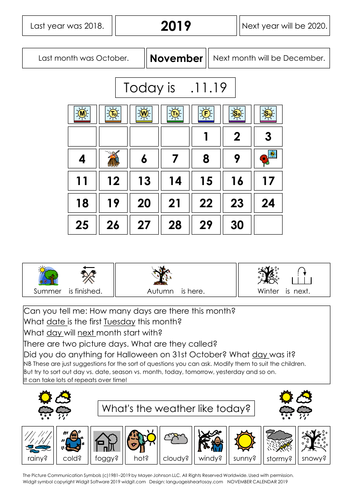 Calendars and worksheets