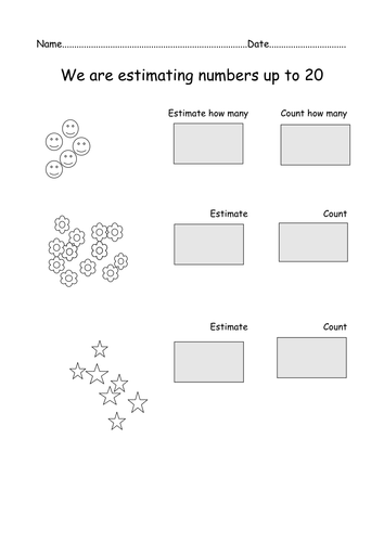 Y1 - Estimating worksheets