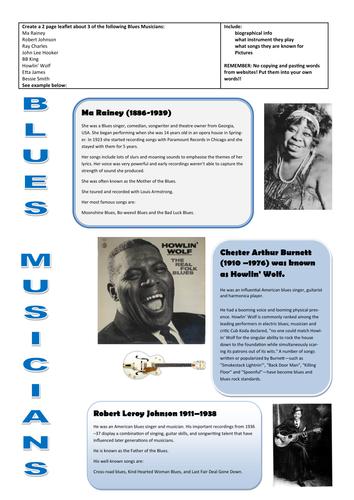 Blues Musicians - Create an informative leaflet