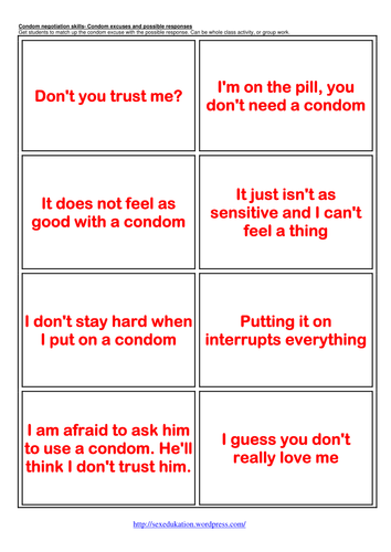 Condom Excuses and Responses