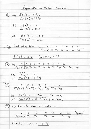 Expectation and Variance Worksheet by phildb | Teaching ...