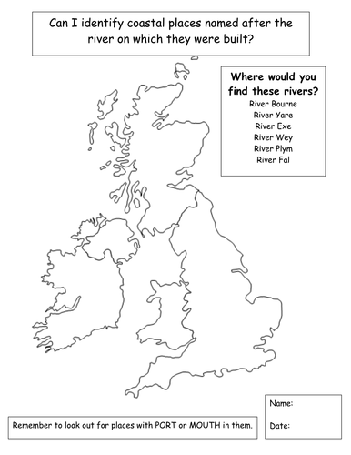 Outline Rivers map of Britain by Smiffcat  Teaching Resources  Tes