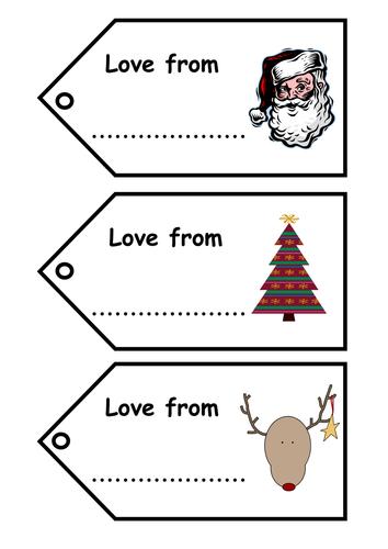 Christmas Name Tags.Christmas Gift Tags Writing Practice