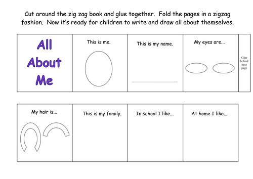 All About Me Zigzag Book by kmed2020 - Teaching Resources - Tes