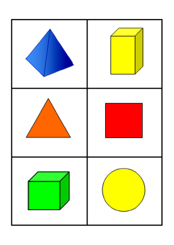 2D and 3D Shape Bingo Cards