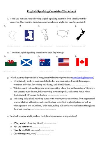 English Speaking Countries Worksheet