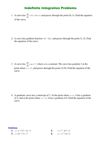 Indefinite Integration By Srwhitehouse Teaching Resources Tes