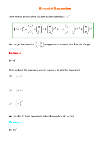 A Level Maths Binomial Expansion Worksheet By Srwhitehouse