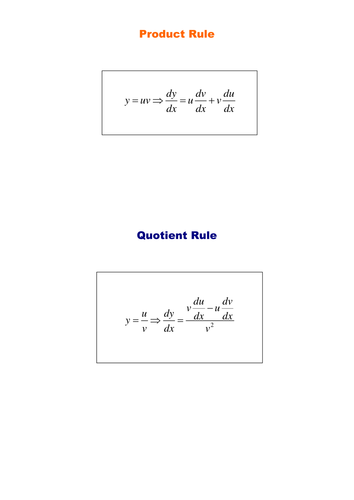 Product And Quotient Rules By Srwhitehouse Teaching