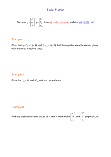 Scalar Product By Srwhitehouse Teaching Resources