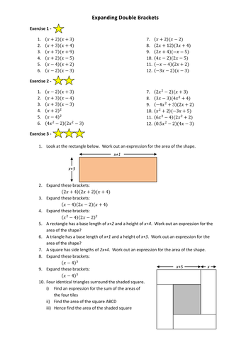 Gcse Maths Expanding Brackets Worksheet By Annamarchbank Teaching