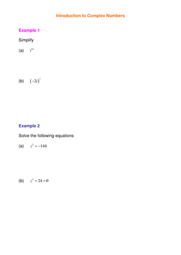 Complex numbers by SRWhitehouse | Teaching Resources