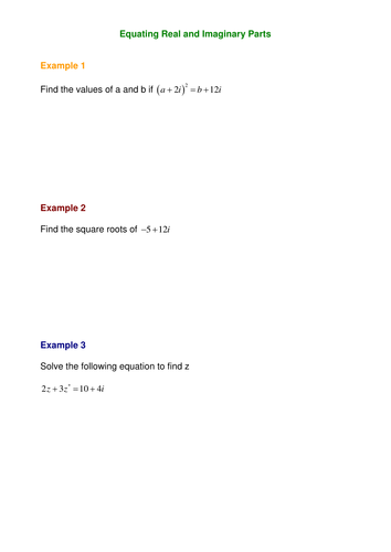 Complex Numbers by SRWhitehouse - Teaching Resources - Tes