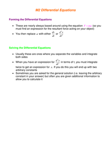 Further Maths: Differential Equations worksheet by SRWhitehouse ...