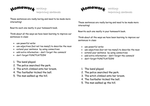Writing In Sentences: Using 'and' - (Activities, Extension Work, Homework)