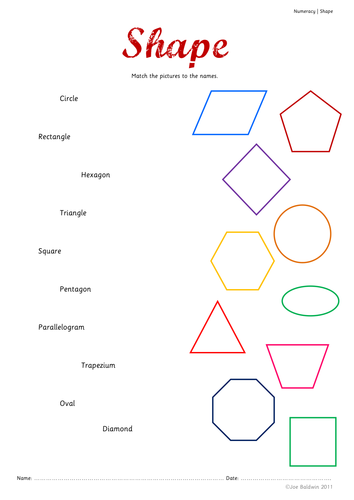 Worksheets Shape Name matching shapes with shape names by baldwj teaching resources tes