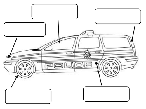 Police Car To Label And Colour by claireh1039 | Teaching ...