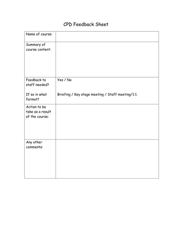Cpd feedback form by landoflearning teaching resources tes for Cpd certificate template