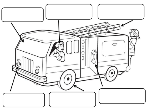 Fire Engine to label and colour by claireh1039 - Teaching Resources ...