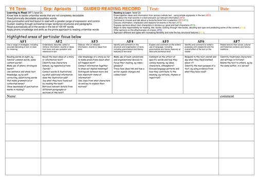 Guided Reading Records KS2