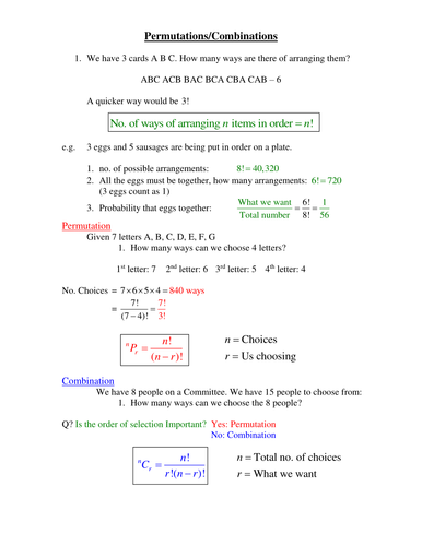 Permutation and Combinations Revision by phildb - Teaching ...